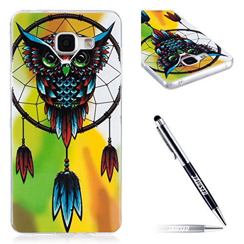 JAWSEU Coque pour Samsung Galaxy A5 2016,Samsung Galaxy A5 2016 Silicone Etui Ultra Slim,Samsung Galaxy A5 2016 Soft Cover Proective Case,2017 Neuf Design Noctilucent Flash Funny Pattern Femme Homme TPU Case Ultra Mince Doux Gel Etui Flexible Souple Coque en Silicone Transparent Caoutchouc Bumper Protecteur Housse Etui+1*Noir Stylo Paillettes-hibou