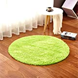 LIYINGKEJI Runde Teppiche für Kinderzimmer Teppiche Kinder Spielen Super Weiche Wohnzimmer Schlafzimmer Home Shaggy Teppich 120 cm durchmesser (47' durchmesser) (Grün, 120cm Durchmesser)