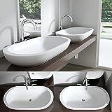 SoGood Brüssel5057 Aufsatzwaschbecken aus Keramik, inkl. Nano-Versiegelung, in weiß,BTH: 87,5x49,2x12cm, oval, Waschtisch