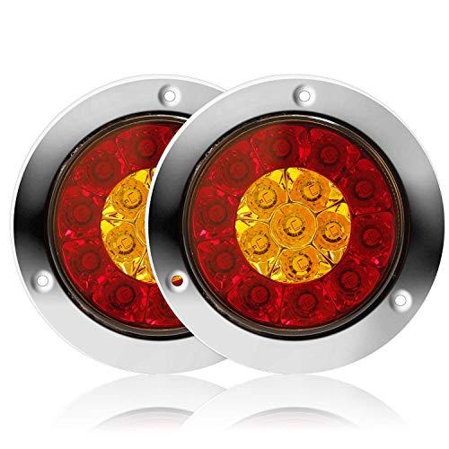 änger Rückleuchten 12V 16-LED Wasserdicht und Bremslicht Lampe mit Edelstahl Chrome Bezel für LKW RV etc. (2 Stück) (Rot+Amber) ()