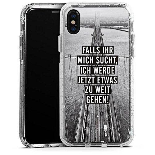Apple iPhone 7 Bumper Hülle Bumper Case Glitzer Hülle Sayings Phrases Sprüche Bumper Case Glitzer silber