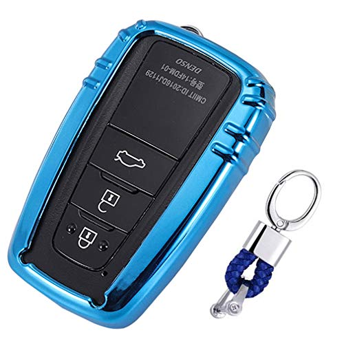 Blau Car Keyless Entry Key Cover Fall für Toyota Camry Rav4 Prado C-HR Prius, weiches TPU Schutzhülle mit Schlüssel Kette (Toyota Camry)