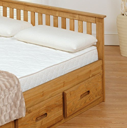 Happy Beds Mission Wooden Solid Waxed Pine Storage Bed Drawers Furniture Frame 4' Small Double 120 x 190 cm