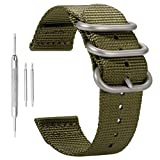 exquisitos Correas de Reloj de Nylon de los Hombres Correas de reemplazo Estilo de la NATO ejército 20mm perlón Textil Verde