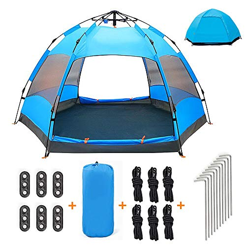 Qrout Tenda da Campeggio automatica 3-4 Posti con 100% Anti UV Tenda Pieghevole Impermeabile a Due Porte per Bambini Famiglia Spiaggia, Viaggio, Picnic di Coppia, Montagna, Campeggio - 240 x 240 cm
