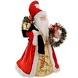 WeRChristmas - Puntale per albero di Natale a forma di Babbo Natale, 40 cm, rosso/oro