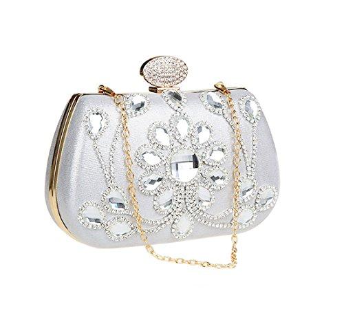 KAXIDY Luxus Abendtasche Handtasche Unterarmtasche Funkelndem Strassbesatz Damentasche Tasche Handtasche (Gold) Silber