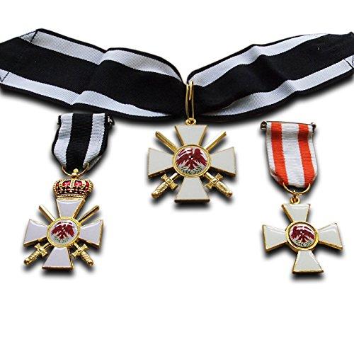 Kostüm Einen Imperialen Offizier - Orden des Lesen Eagle 2. Klasse + 3. Klasse 3x Medaille Set Preußische Imperial Militär Medaille Repro