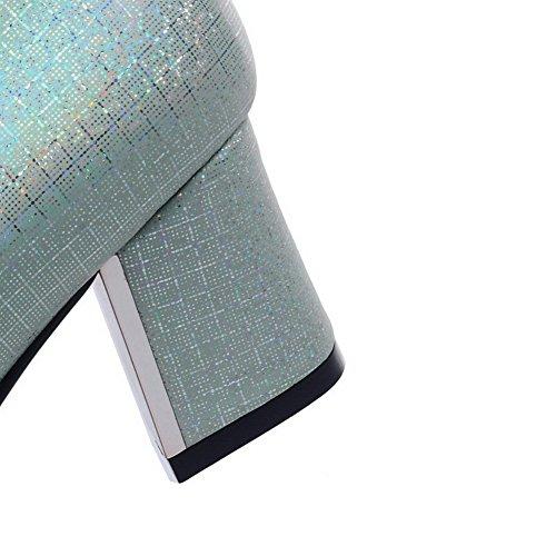 AgooLar Damen Rein Blend-Materialien Mittler Absatz Spitz Schließen Zehe Pumps Schuhe Grün