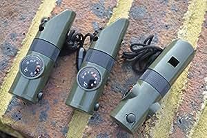 3x Mil-Com 7in 1Notfallpfeife, beinhaltet: Pfeife, Kompass, Lagerfach, Lupe, Thermometer, LED-Leuchte und Spiegel