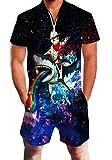 Chicolife Strampler für Herren Männlich Rainbow Glaxy Shark Fahrt Cat Print Kausale Shirt Vintage Overall Outfit