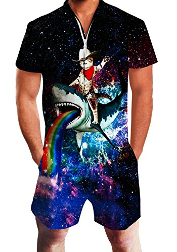 für Herren männlich Rainbow Glaxy Shark Fahrt Cat Print Kausale Shirt Vintage Overall Outfit ()