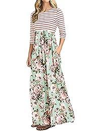 Vestiti Lunghi Donna Vintage Stampa Fiore Cucitura Stripe Vestito Mare Ragazze  Giovane Donne Manica 3  1faf4012296