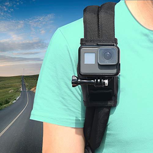 Schultergurt-Halterung für GoPro Hero 6 5 4 3+, Parapace Pack Mount Klett-Verstellbarer Schultergurt-Halter mit 360 Grad drehbarem Haken für Action-Kameras, Xiaomi, SJCAM -