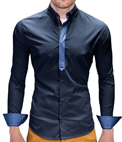 Better Sleep tylz Castro camicia Slim Fit Camicia a maniche lunghe 3colori dinotech (S-XL) Dunkel Blau xxl