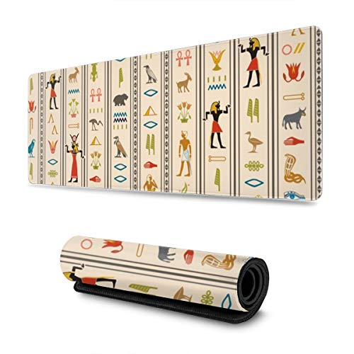 Soft Gaming Mouse Pad Large Hieroglyphics Egypt Hieroglyphics Birds African Leaves Pyramid Non-Slip Rubber Base Soft Computer Keyboard Mice Mat -