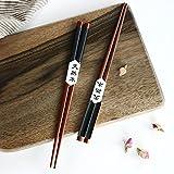 Palillos, 5 par palillos de alta calidad restaurante chino japonés palillos Set de Alta Calidad, Diseño de Antideslizante (RX)
