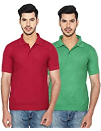 ANSH FASHION WEAR Regular Fit Polo T-shirt Combo For Men - Half Sleeves Casual Men's Polo - Set Of Two - Maroon...