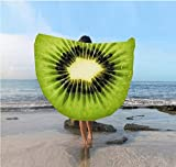 Nibesser Kiwi Strandtuch Lemon Yoga-Matte Farbenfroh Kuschelig Rund Strand Badetuch Bikini Cover up Schal 150cm