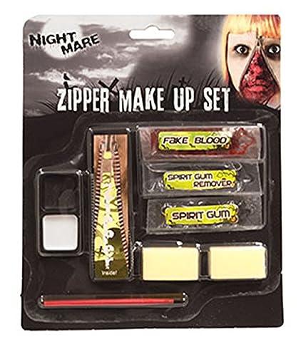 Fancy Ole - Halloween Schminkset offener Reißverschluss- Zipper Make Up, Mehrfarbig