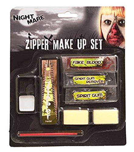Halloweenia - Halloween Schminkset offener Reißverschluss- Zipper Make Up, Mehrfarbig