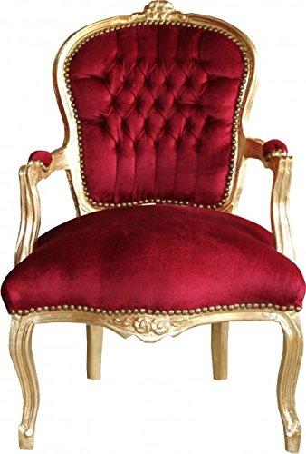 Casa Padrino Barock Salon Stuhl Bordeaux/Gold - Möbel