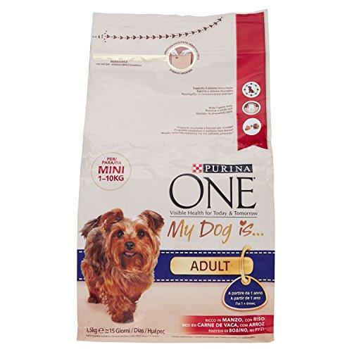 Purina purina one mini crocchette cane adult ricco in manzo, con riso, per cani fino a 10 kg, 1.5 kg