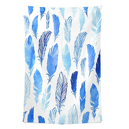 Blaue Feder magischen Stil Wandteppich Wandbehang Cool Post Print für Wohnheim Home Wohnzimmer Schlafzimmer Tagesdecke Picknick Bettlaken 80 X 60 Zoll -