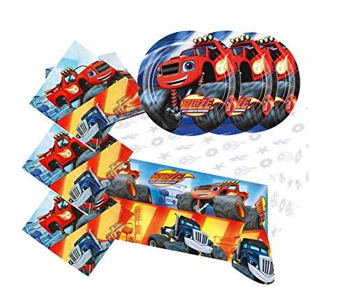 Motto Party Geburtstag Feier Dekoration Set: Servietten + Tischdecke + große Teller: 29 Teile für 8 Kinder - wählbar: Star Wars - Blaze - Transformers - Spiderman (Blaze) (Transformers Dekorationen Party)