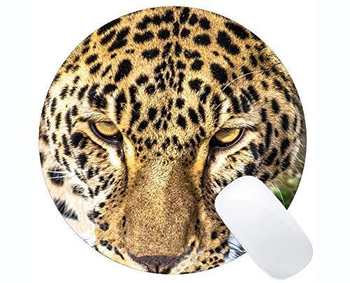 Yanteng Cojín de ratón Redondo de la Serie Original de Encargo del Leopardo, Cojines de ratón Redondos del Leopardo de la Familia del Gato del Leopardo