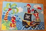 Associated Weavers Kinderteppich Teppich Kinderteppich Kinder Teppich Spielteppich Boys 03 Pirates 80 x 120 cm ein muss für jeden Piraten Fan mit Piratenschiff und Schatzkiste darf in keinem Kinderzimmer fehlen