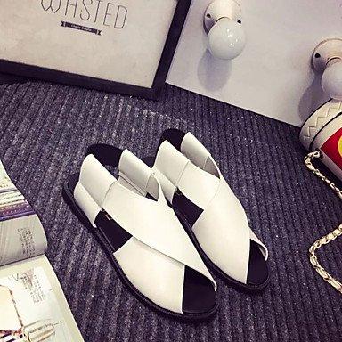 LvYuan Damen-Sandalen-Lässig-PU-Flacher Absatz-Komfort-Schwarz Weiß Black