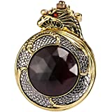AMPM24 Mens Golden Dragon Dangle Pendant Pocket Quartz Watch + Gift Chain WPK04 WPK043
