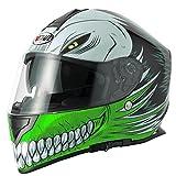 V-CAN Vcan V127Hueca Full Face Casco de Moto, Hombre Mujer, Verde