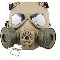 Táctico Máscara QMFIVE Dummy Anti Niebla Máscara de Gas M04 con Doble Ventilador Airsoft paintbal Protección Gear(Desierto)