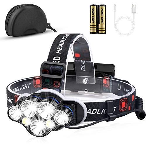 Stirnlampe, 12000 Lumen Brighest 7 LED kopflampe mit weiß Rot Stirnlampe Beleuchtung, USB Stirnlampe Wiederaufladbare kopflampe Wasserdicht, kopflampe 8 Betriebsarten für Outdoor Camping Angeln