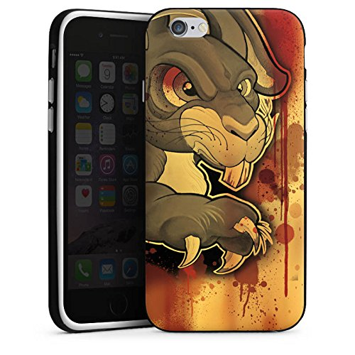 Apple iPhone X Silikon Hülle Case Schutzhülle Tattoo Böses Kaninchen Silikon Case schwarz / weiß