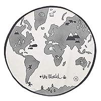 Zhongke Baby Kids World Map Playmat Round Canvas Carpet for Children