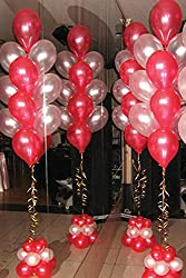 BALLOON JUNCTION Themez only RED & WHITE Metallic Birthday Party Balloons - Pack of 50