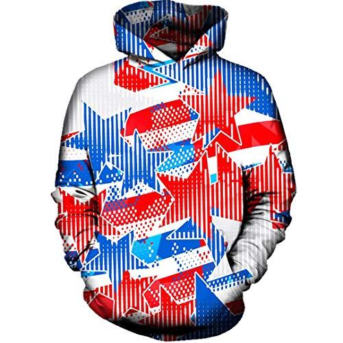 B-Pertand USA Stars 3D Print Männer Frauen Hoody Pullover Taschen Herbst Trainingsanzug Mit Kapuze Tops Hooded Hoodies ()