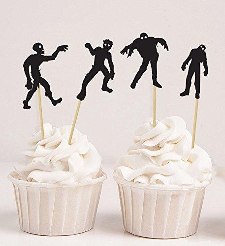 (Darling Souvenir Halloween Zombie Silhouetten Cupcake Topper, Zombie Party Dessert Dekorationen - Packung von 20)