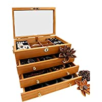 H.aetn Vintage Jewelry Jewelry Box Storage Box Dressing Box with Lock Wooden Large Capacity Simple Household Flannel with Mirror