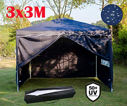 3x3m Hochleistungs-Pop-Up-Pavillon-Festzelt mit 4-seitigen Paneelen Voll wasserdicht & Anti-UV Außen Awing Überdachung mit 2 Fenstern & Reißverschluss und Tragetasche für den einfachen Transport, blau
