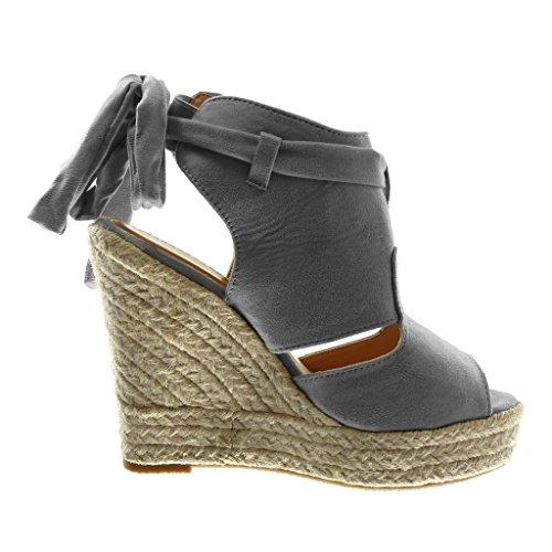 Angkorly Chaussure Mode Sandale Mule Plateforme Peep-Toe Ouverte Arrière Femme Ruban Corde Tréssé Talon Compensé Plateforme 13 cm Gris