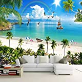 REAGONE Benutzerdefinierte Wandbild Wandmalerei 3D Malediven Seascape Strand Kokospalme Hintergrund Fototapete Für Wohnzimmer, 200X140 Cm (78,7 Von 55,1 In)