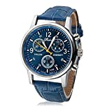 Pasabideak Absolute Billig. Sieht Aber Wirklich Teuer Herren Kleid Watch- Fashion Einfache Analog Armbanduhr Zifferblatt Quarz Krokodil Kunstleder (Blue)