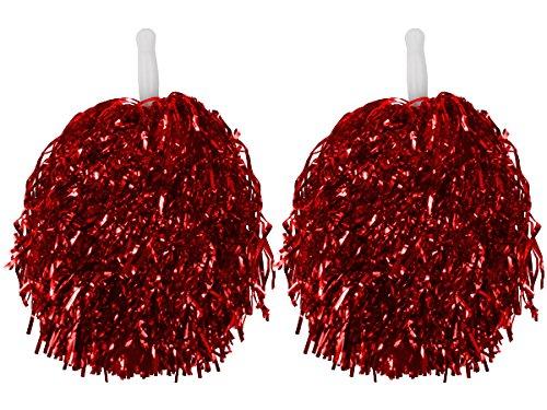 1 Paar Gerade Hand Shank Cheerleader Pompons,Tanzwedel,Glitzer-Püschel,Fasching Karneval (ROT) Cheerleader Glitzer
