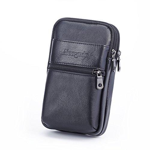 Hengying Echt Leder Kleine Herrentasche Umhängetasche Gürteltasche mit Karabiner Gürtelschlaufe Passt für iPhone 6S Plus - Schwarz