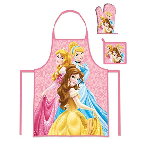 Kids Girls Disney Princess Apron Glove And Potholder Set 3 To 8 Years