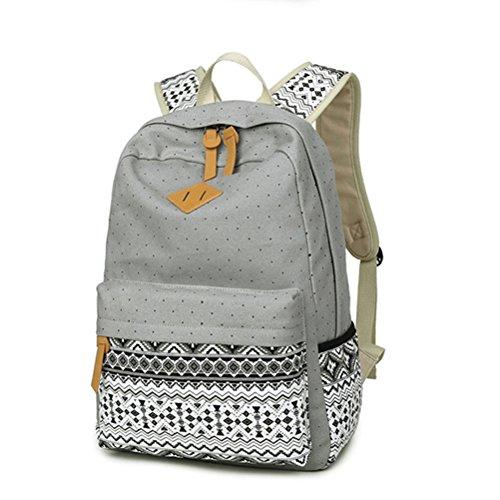 Honeymall Fashion Mädchen Polkapunkten Schulrucksack Damen Canvas Rucksack Teenager Schultasche Daypacks(Grau)